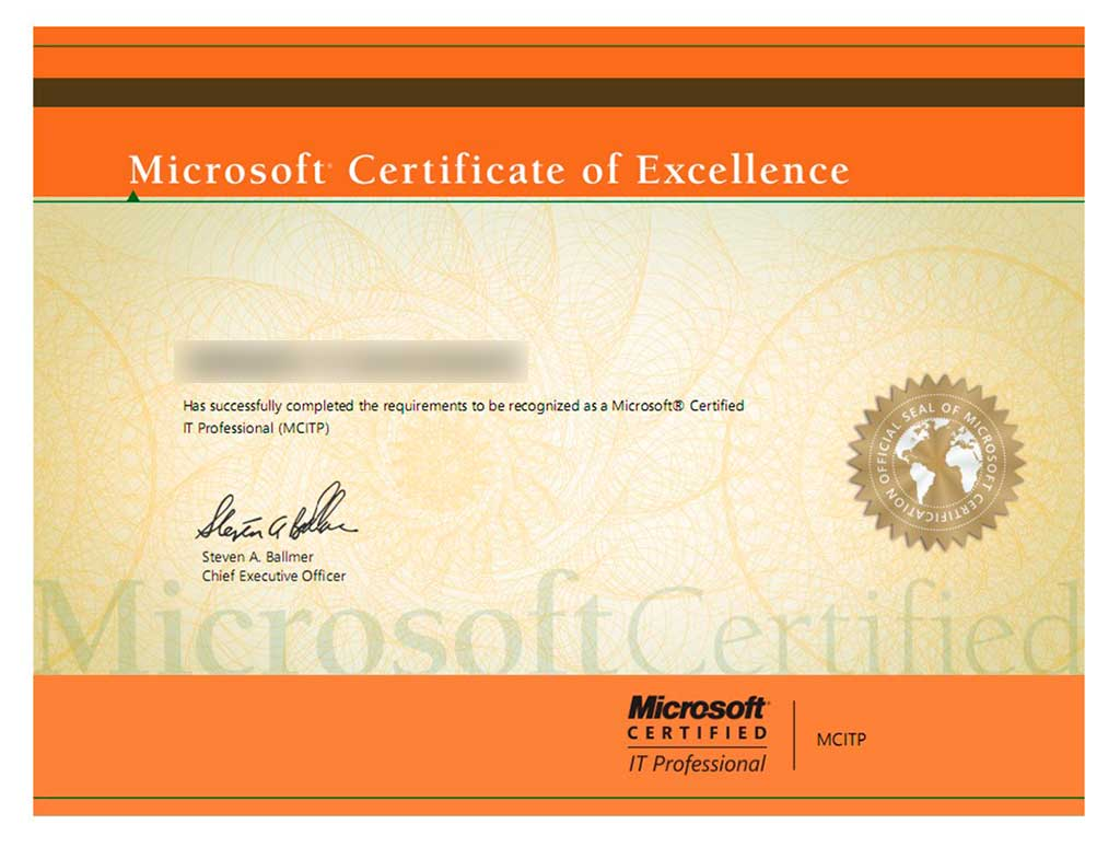 Сертификат Microsoft Certified IT Professional