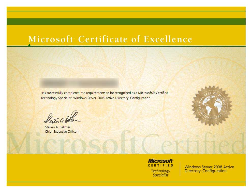Сертификат Microsoft Certified Technology Specialist по Windows Server 2008